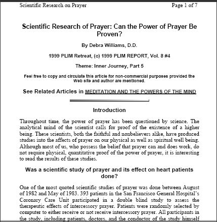 Document: Scientific Research on Prayer